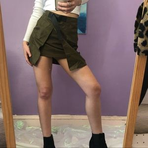 olive green skirt with buckle